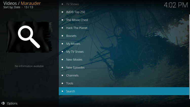 Return back to the Marauder Kodi addon and select Search.
