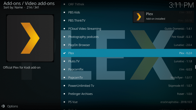 Wait for Plex add-on installed message to appear