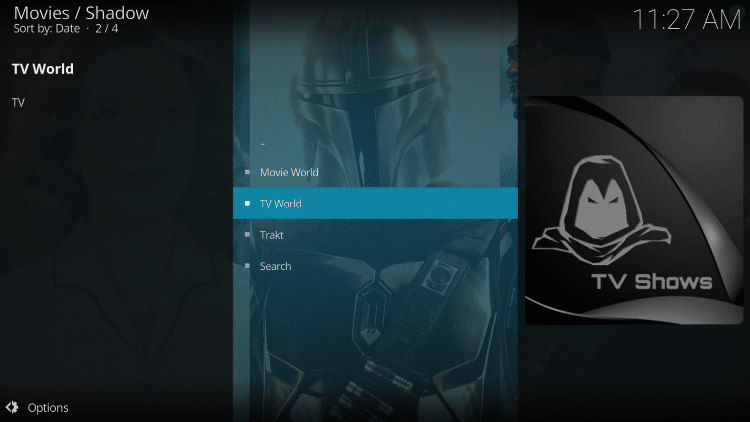 Launch the Shadow Kodi Addon.