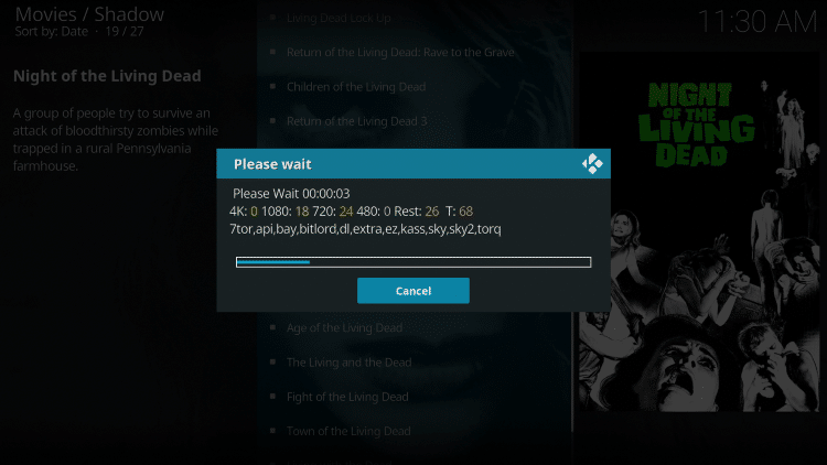Return back to the Shadow Kodi addon and you will notice links start to populate.