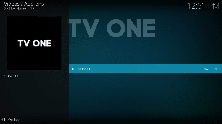 Click TV One (tvOne111) to launch the addon.