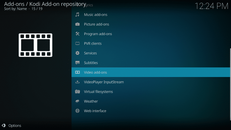 By default you are now in the Kodi Add-On Repository. Then select Video add-ons