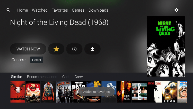 You'll notice the star is highlighted, as your preferred Movie or TV Show is now added to your Favorites