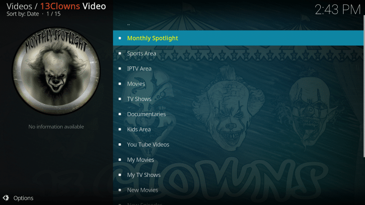 13 Clowns is considered one of the Best Kodi Add-Ons by TROYPOINT.