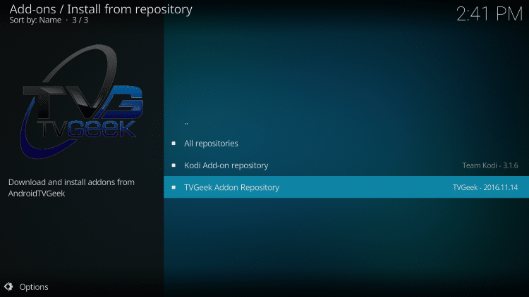 Choose TVGeek Addon Repository