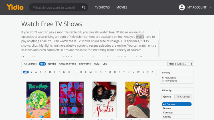 Yidio Free TV Shows