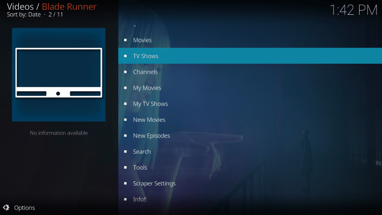 Launch the Blade Runner Kodi Addon.