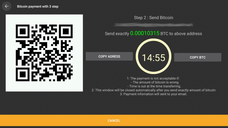 You are then prompted with a Bitcoin code and an amount based on your payment selection.