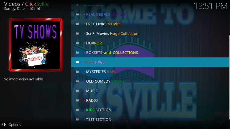clicksville kodi addon categories