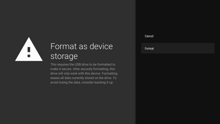 Format as Device Storage