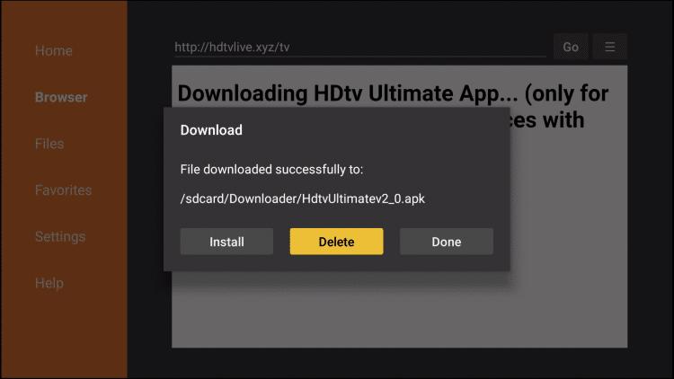 choose delete