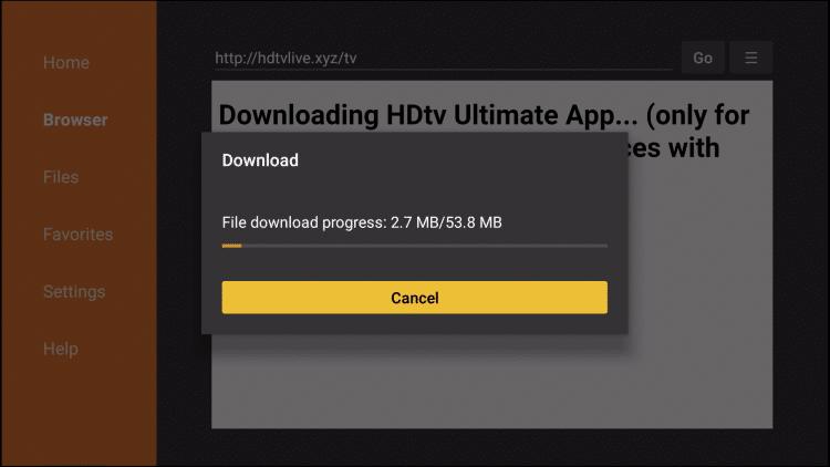 file download progress screen