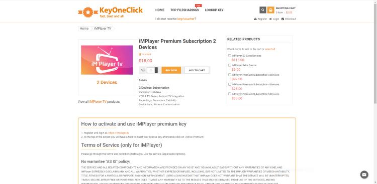 W tym przykładzie wybraliśmy opcję iMPlayer Premium Subscription 2 Devices, która kosztuje 18 USD w chwili pisania tego tekstu.