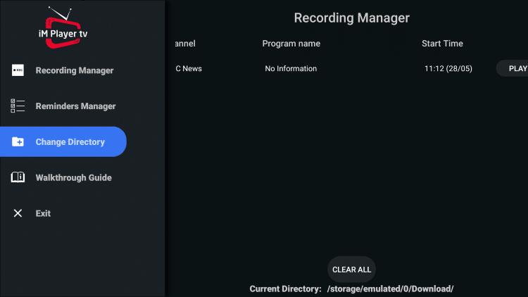 Kliknij Zmień katalog.  Umożliwi to zapisanie plików nagrań na zewnętrznej pamięci USB.