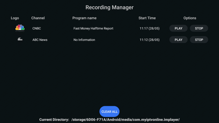 Within the Recording Manager, you are able to locate your recording files.
