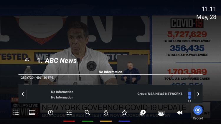 Wróć do wybranego kanału i kliknij przycisk OK, aby uruchomić menu odtwarzania.  Następnie przewiń w prawo i wybierz Nagraj.
