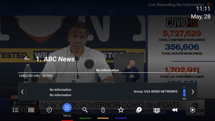 Kliknij przycisk OK na pilocie, aby uruchomić menu odtwarzania.  Następnie przewiń w lewo i kliknij Menu.