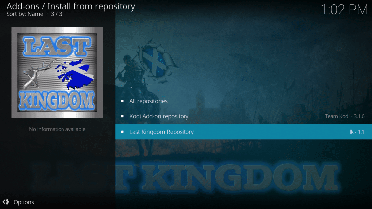 Scroll down and choose Last Kingdom Repository