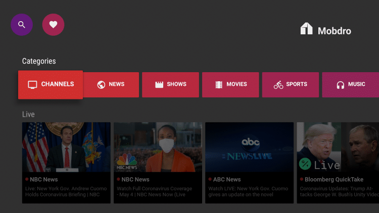 On the Mobdro home screen select Channels or any category you prefer.