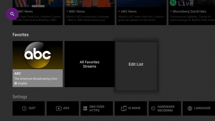 To remove channels from your Favorites or edit your list, select Edit List.