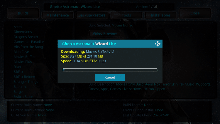 Wait for the Movies Buffed Kodi Build to install
