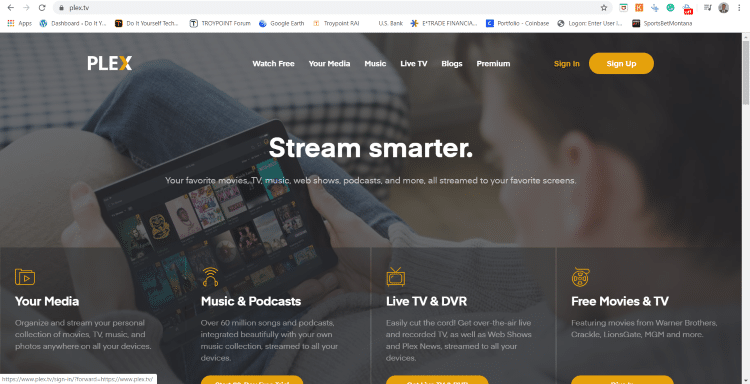 choose sign in for Plex Media Server