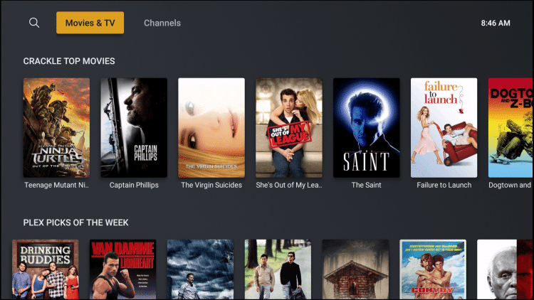 plex streaming app interface