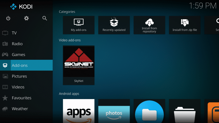 Once the SkyNet Video add-on has been installed go back to the Home screen of Kodi. Click Add-ons