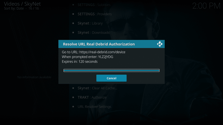 This screen will appear. Write down the code provided.