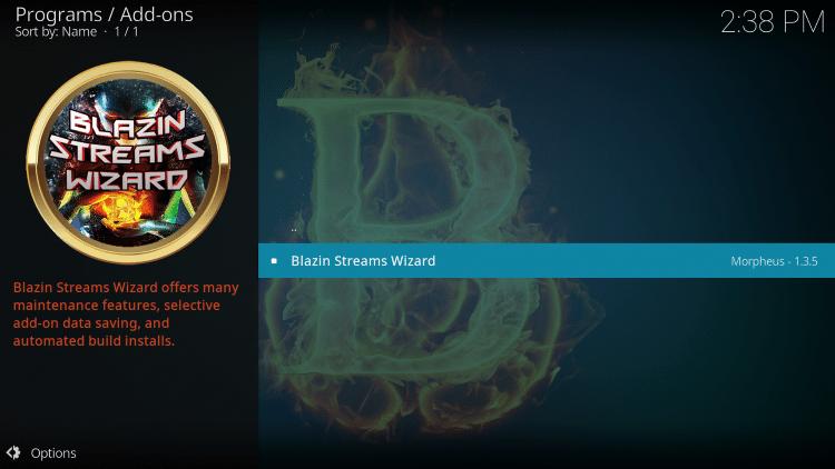 Select Blazin Streams Wizard