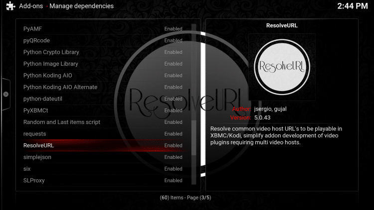 Scroll down and choose ResolveURL