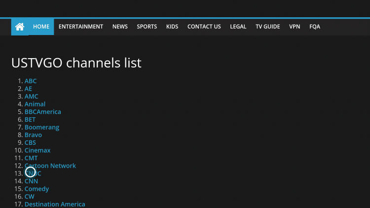 To select a channel, simply hover over the channel link you prefer and click the OK button on your remote.