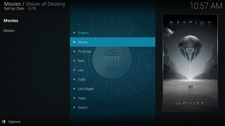 Installation of the Vision of Destiny Kodi Addon is now complete!