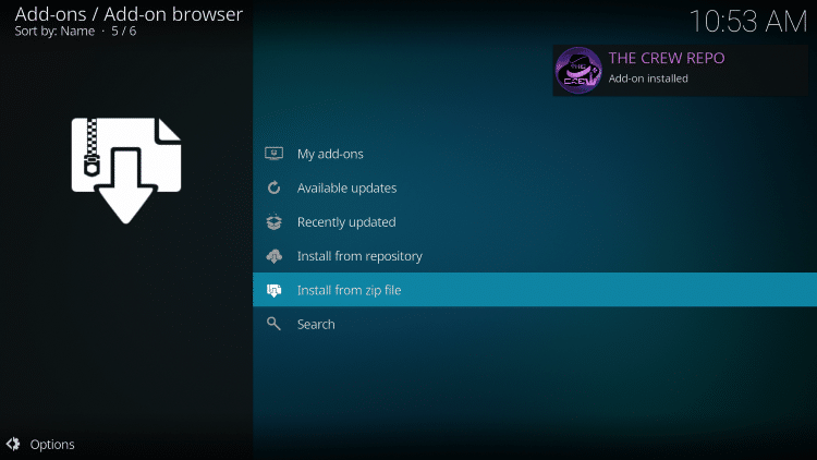 "Wait for ""The Crew Repo Add-on installed"" message to appear"