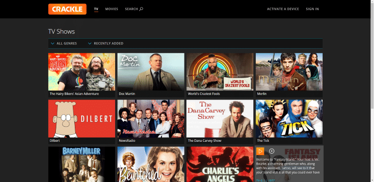 watch tv shows online free crackle