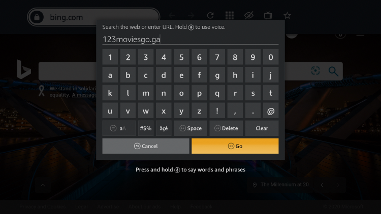 Enter in the following URL - 123moviesgo.ga and click Go.