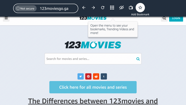 "If you want to bookmark the 123Movies website, click the star icon that says ""Add Bookmark."""
