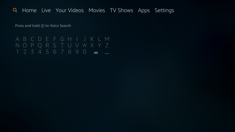 From the Main Menu scroll to hover over the Search icon