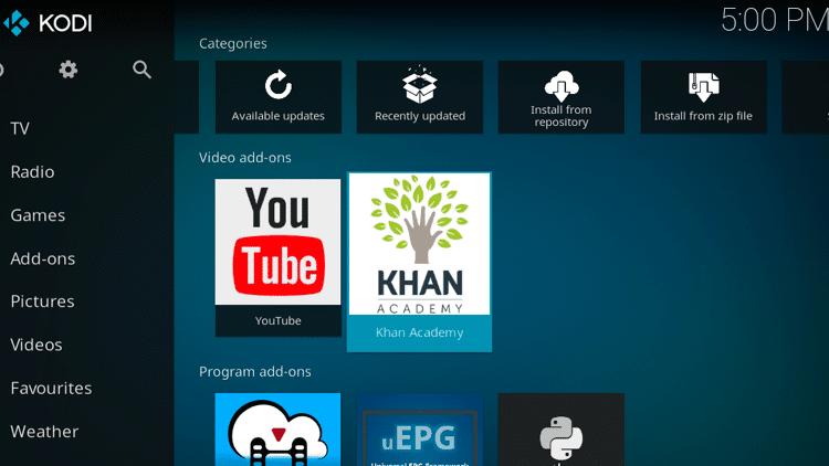 Step 14.0 - How to Install Kahn Academy Kodi Addon Guide