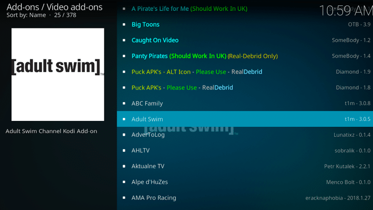 Step 5 - How to Install Adult Swim Kodi Addon Guide