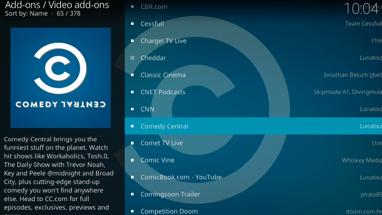 Step 5 - How to Install Comedy Central Kodi Addon Guide