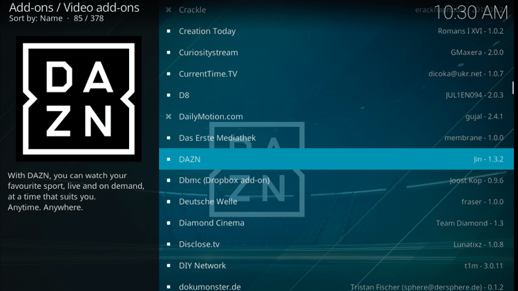 Step 5 - How to Install DAZN Kodi Addon Guide