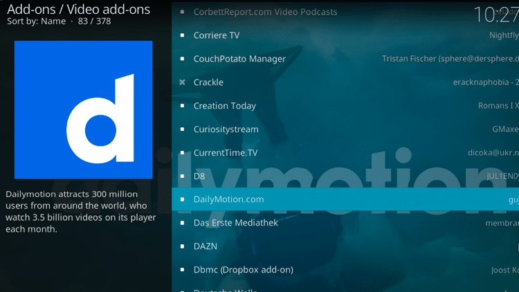 Step 5 - How to Install DailyMotion Kodi Addon Guide