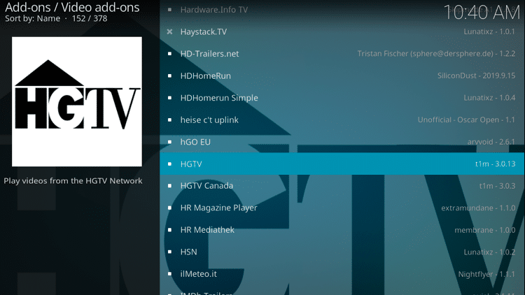 Step 5 - How to Install HGTV Kodi Addon Guide