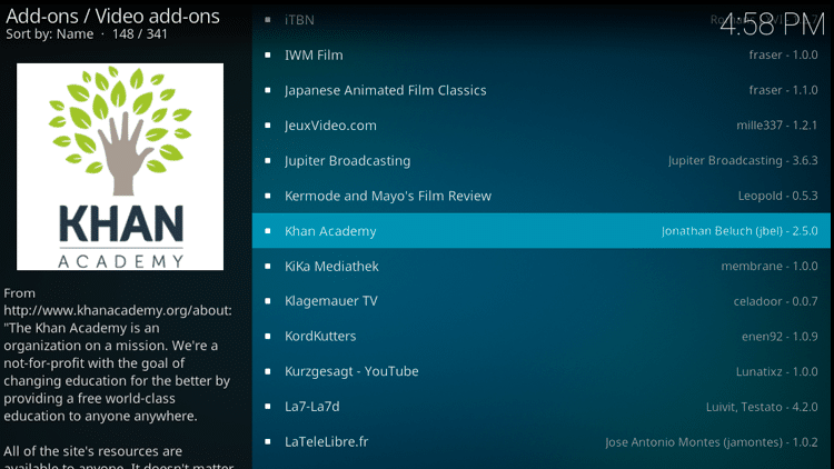 Step 5 - How to Install Kahn Academy Kodi Addon Guide