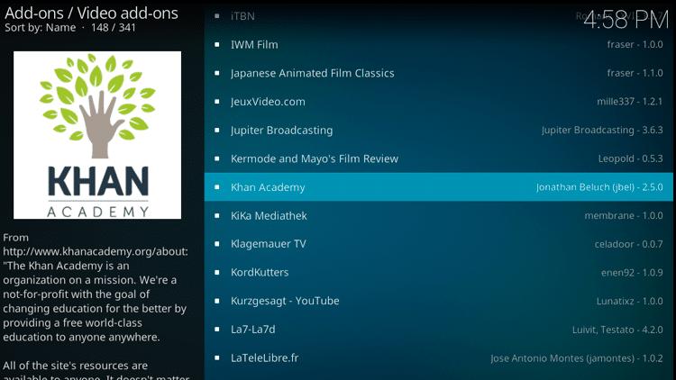 Step 5 - How to Install Kahn Academy Kodi Addon Guide