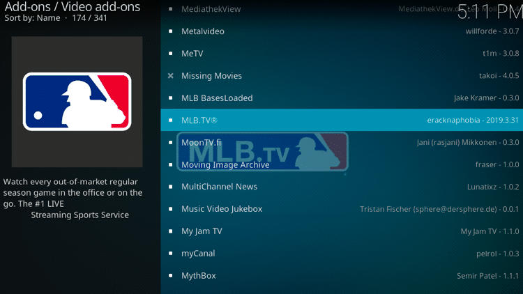 Step 5 - How to Install MLB TV Kodi Addon Guide