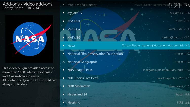 Step 5 - How to Install NASA Kodi Addon Guide