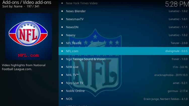 Step 5 - How to Install NFL.com Kodi Addon Guide