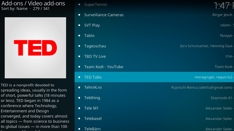 Step 5 - How to Install TED Talks Kodi Addon Guide